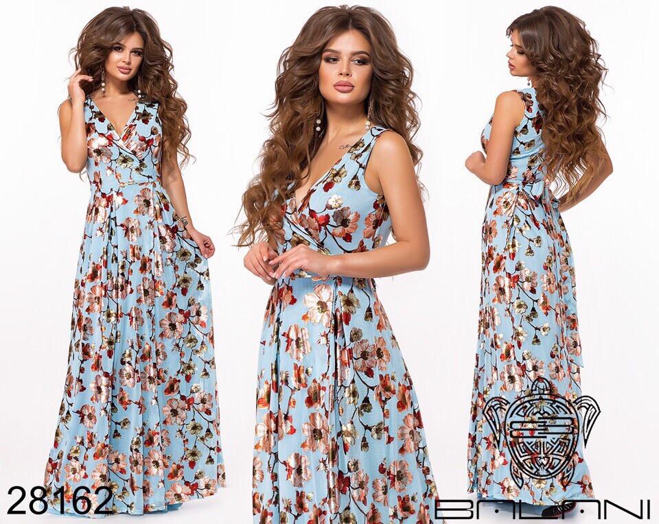 Шикарное женское длинное платье с цветочным принтом на сетке 42-44,44-46р (5расцв)