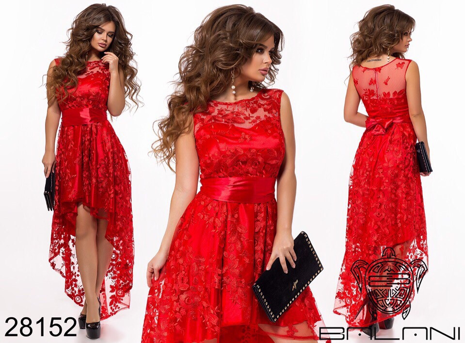 Асимметричное женское атласное платье с вышивкой на сетке 42-44-46р (5расцв)