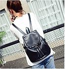 Рюкзак женский чёрный PU кожзам. 28 см - 29 см. - 12 см., фото 2