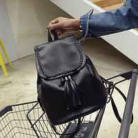 Рюкзак женский чёрный PU кожзам. 28 см - 29 см. - 12 см.