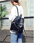 Рюкзак женский чёрный PU кожзам. 28 см - 29 см. - 12 см., фото 3