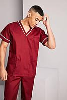 Медицинский костюм хирургический мужской бордовый - 03303