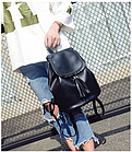 Рюкзак женский чёрный PU кожзам. 28 см - 29 см. - 12 см., фото 4