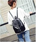 Рюкзак женский чёрный PU кожзам. 28 см - 29 см. - 12 см., фото 5