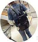 Рюкзак женский чёрный PU кожзам. 28 см - 29 см. - 12 см., фото 6