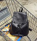 Рюкзак женский чёрный PU кожзам. 28 см - 29 см. - 12 см., фото 7