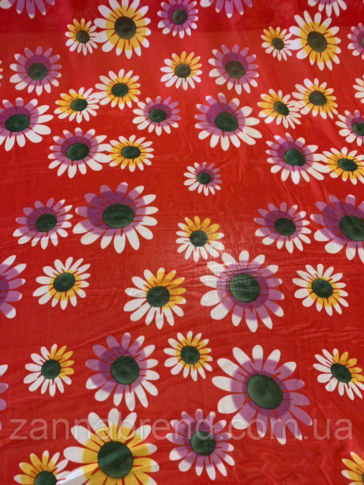 Тканина червоний шифон в квіточку