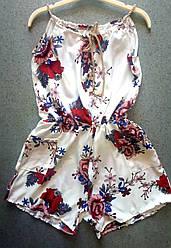 Комбенизон женский карманы принт цветы канаты 42-46 (лето)