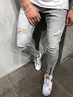 Мужские  джинсы slim рваные демисезонные серые, фото 1