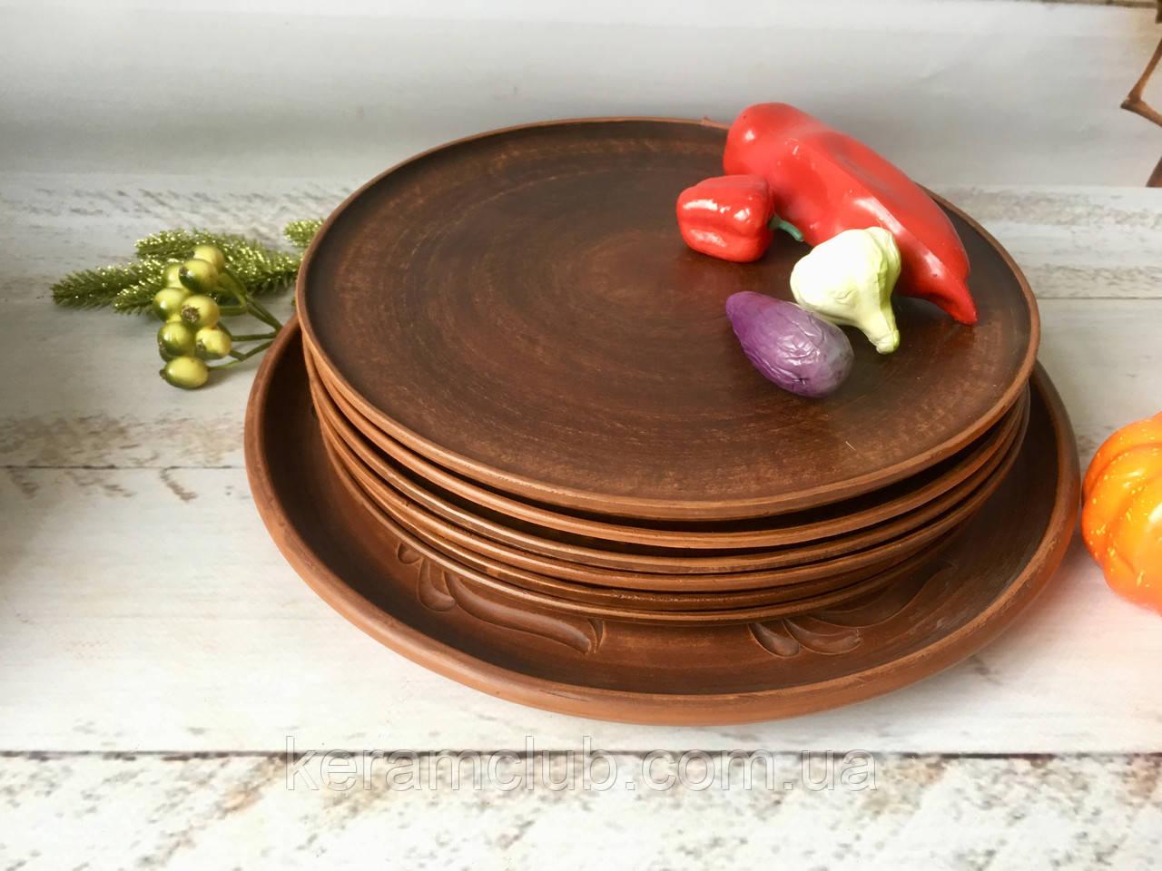 Керамическое блюдо 30  см + 6 тарелок 25 см