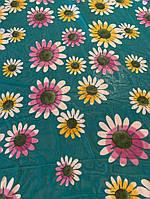 Ткань бирюзовый шифон в цветочек
