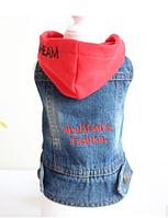 Жилет джинсовый с красным капюшоном