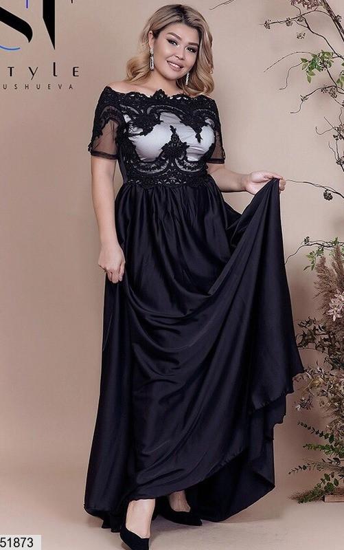 Платье женское нарядное, цвет черный, размер:48-52