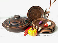 Керамический набор из красной глины сковорода и 6 тарелок
