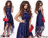Асимметричное женское атласное платье с вышивкой на сетке42-44-46р (5расцв), фото 7