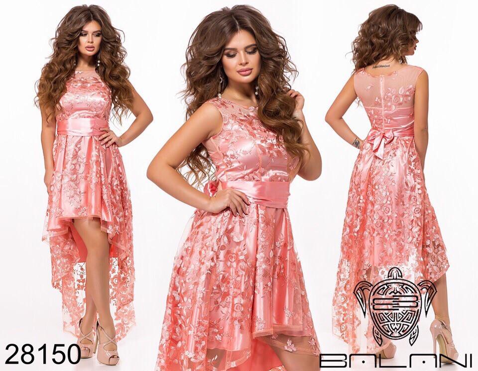Асимметричное женское атласное платье с вышивкой на сетке42-44-46р (5расцв)