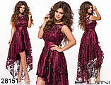 Асимметричное женское атласное платье с вышивкой на сетке42-44-46р (5расцв), фото 9
