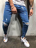 Мужские джинсы slim рваные демисезонные синие, фото 1