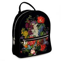 Рюкзак 3D міський чорний Чарівний букет (черный рюкзак с цветами), фото 1