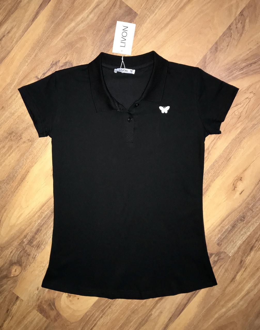 Женская футболка поло черная