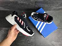 Мужские кроссовки  Adidas Yung темно синие с белым / красные / кроссовки мужские Адидас