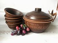 Глиняный набор Керамклуб супница 2,5 л и 4 пиалы 450 мл, фото 1