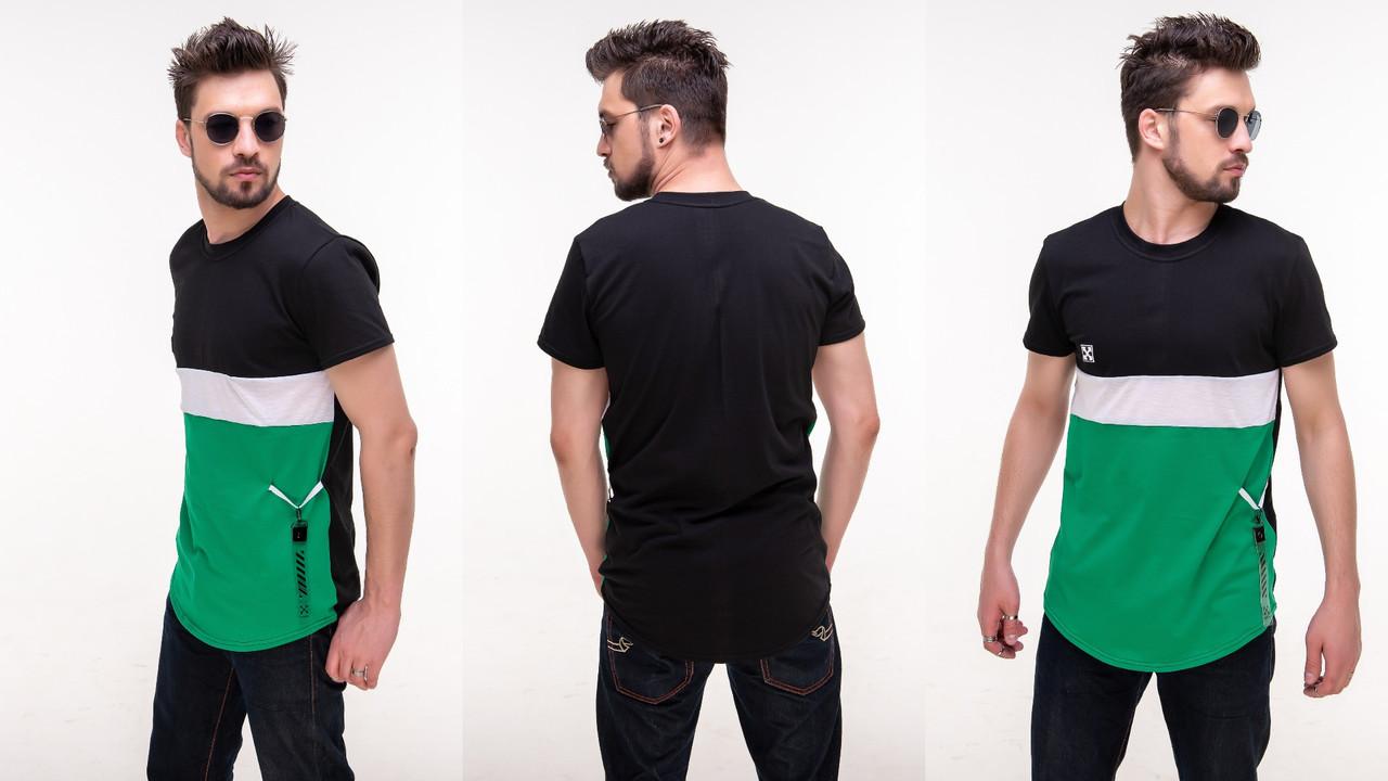 Мужская летняя трехцветная футболка с силиконовой нашивкой