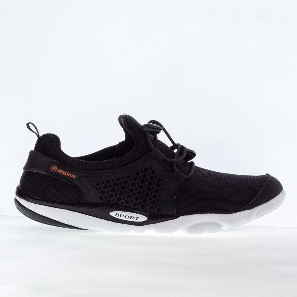 Мужские летние кроссовки Restime PMB19706 BLACK, черные, сетка