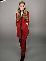 Женский повседневный спортивный костюм в красном и черном цвете с удлиненной кофтой,размер:S-XL,Турция