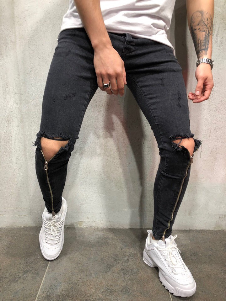 c8e81417f33 Мужские узкие черные джинсы с рваными коленями - Интернет-магазин одежды и  аксессуаров в Киеве