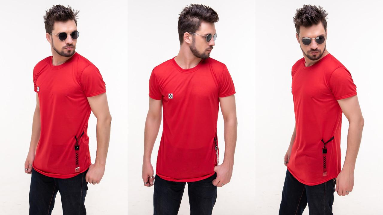 Мужская летняя легкая футболка с силиконовой нашивкой