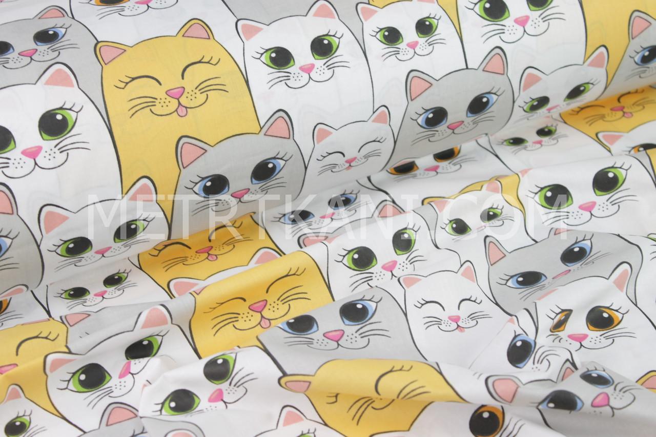 """Ткань хлопковая """" Большие коты с разноцветными глазами """" №1255"""