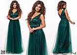 Длинное вечернее женское атласное платье+декор цветочами 42-44-46р (5расцв) , фото 3