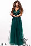 Длинное вечернее женское атласное платье+декор цветочами 42-44-46р (5расцв) , фото 4
