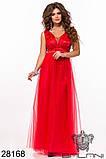 Длинное вечернее женское атласное платье+декор цветочами 42-44-46р (5расцв) , фото 2