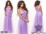 Длинное вечернее женское атласное платье+декор цветочами 42-44-46р (5расцв) , фото 5
