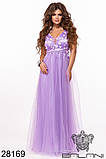 Длинное вечернее женское атласное платье+декор цветочами 42-44-46р (5расцв) , фото 6