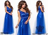 Длинное вечернее женское атласное платье+декор цветочами 42-44-46р (5расцв) , фото 7