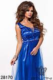 Длинное вечернее женское атласное платье+декор цветочами 42-44-46р (5расцв) , фото 8