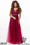 Длинное вечернее женское атласное платье+декор цветочами 42-44-46р (5расцв) , фото 10