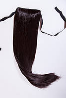 Шиньоны на ленте №1.цвет черный натуральный с красными бликами