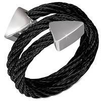 Черное двойное кольцо-струна 316 Steel