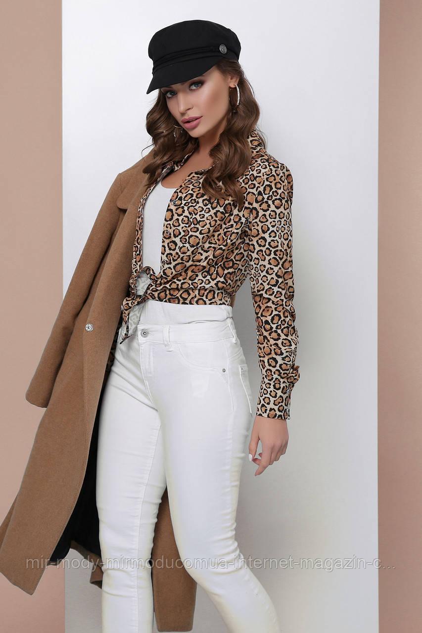 Блуза 1810 бежевий леопард (2 кольори) з 42 по 50 розмір(мас)