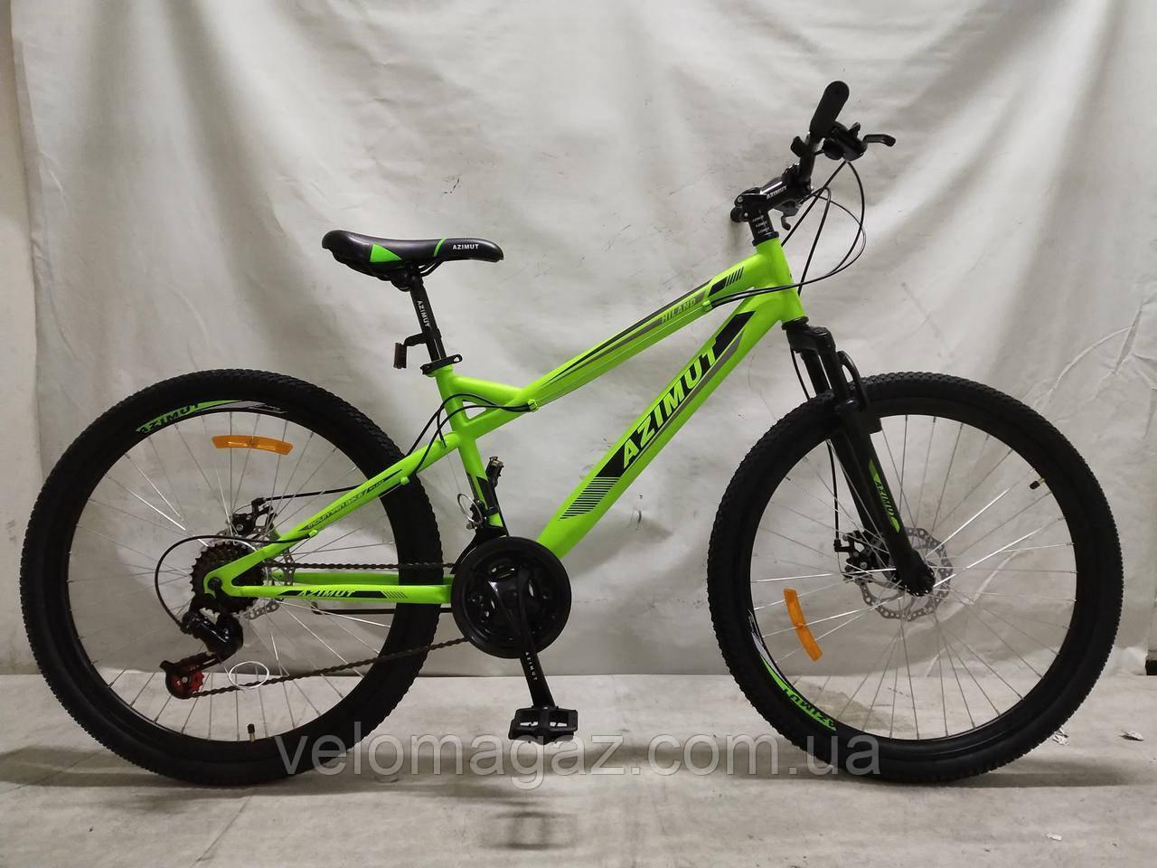 """Велосипед горный Azimut Hiland 26"""" рама 15"""", салатовый"""