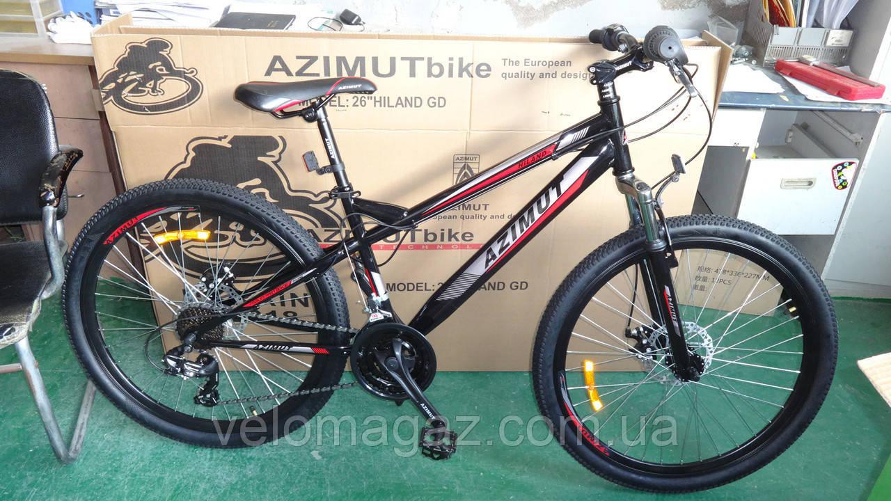 """Велосипед гірський Azimut Hiland 26"""" рама 15"""", чорно-червоний"""