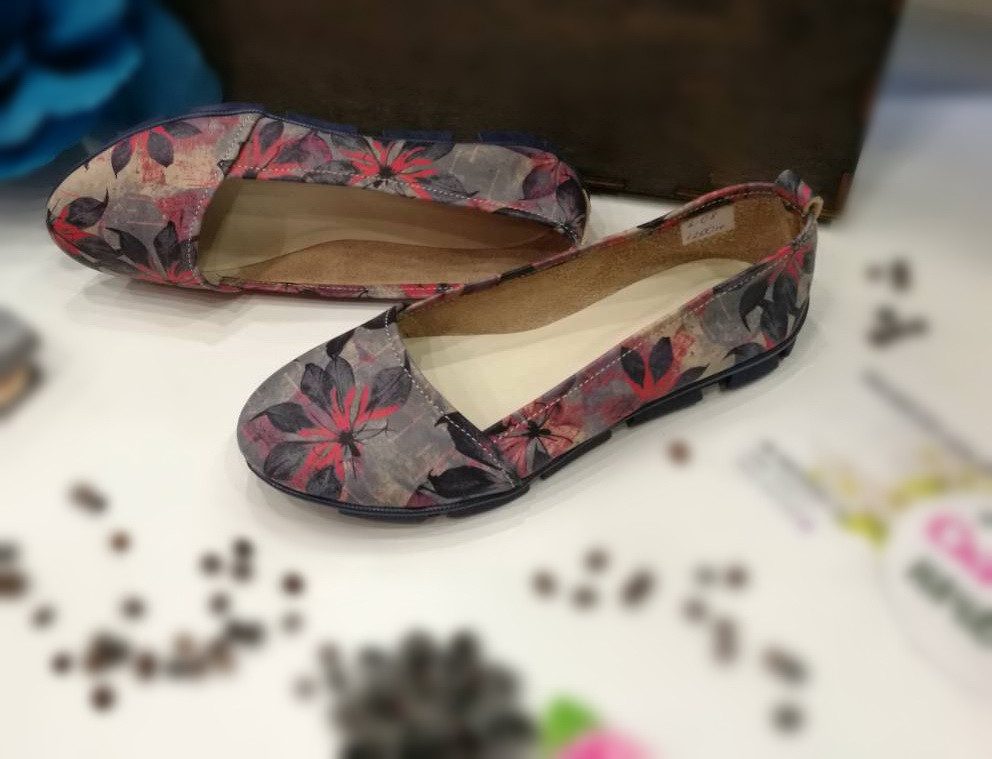 Балетки кожаные  Oscar Fur  1-08wd Цветочный принт