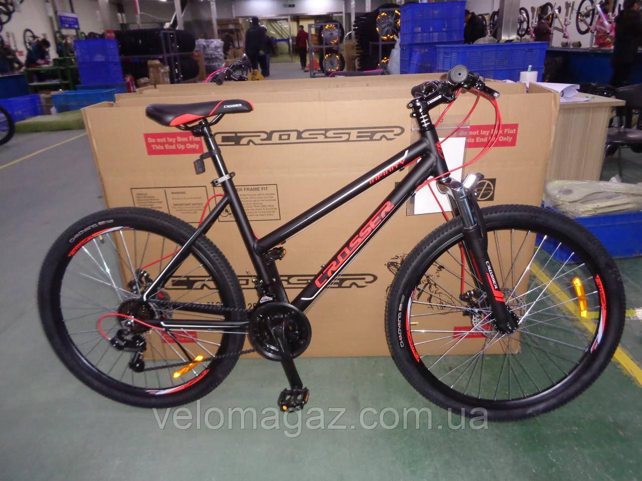 """Велосипед горный алюминиевый Crosser INFINITY 24"""" рама 15"""", черно-красный"""