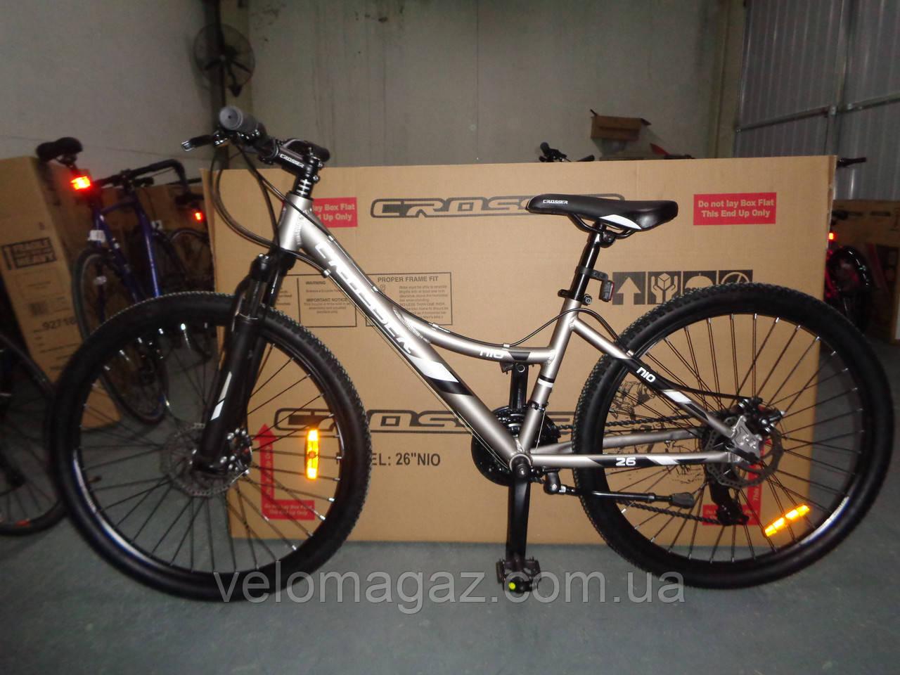 """Велосипед горный алюминиевый Crosser Nio Stels 26"""" рама 15"""", черно-красный"""