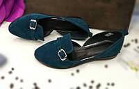 Балетки замшевые темно-зеленого цвета / shoes for women 2-10 bir, фото 1