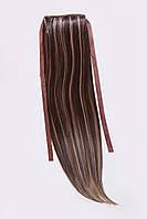 Шиньоны на ленте №1.цвет мелирование темно-русый с желтым